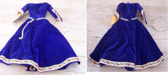 Vintage Barbie Guinevere Gown Blue Velvet with Trim