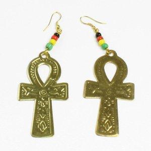 Ankh Earrings: Gold (E-102)
