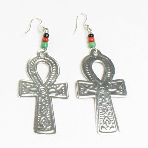 Ankh Earrings: Silver (E-103)