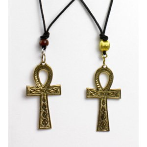 """Brass Ankh Necklace : Large (3"""")  (J-N021)"""