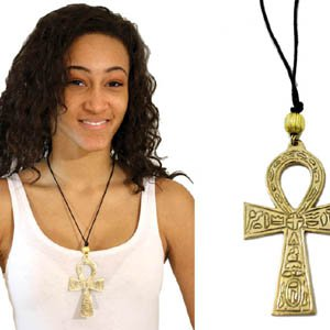 "Brass Ankh Necklace : XL (4"") (N-022)"