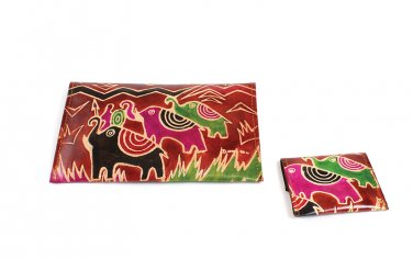 Wallet Set: Afrocentric Elephant - Redwood (C-A172:AE:Rdw)