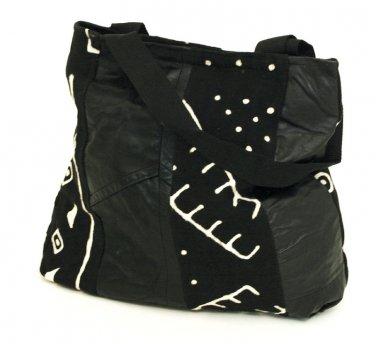 Black Mud Cloth & Leatherette Design Bag (C-A052)