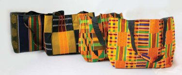 Set Of 4 Kente Tote Bags (C-A829)