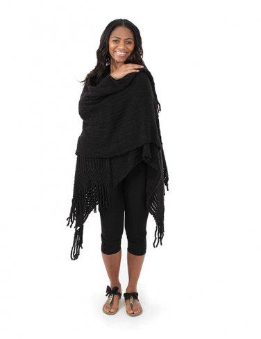Knit Poncho (C-WF813) Black