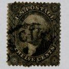 U.S. Cat. # 36 1857 12c Washington, black