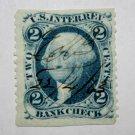 1) U.S. Cat. # R5B -1862-71 2c blue, bank check, part perf.