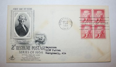 First Day of Issue - 2 cent Regular Postage 1954