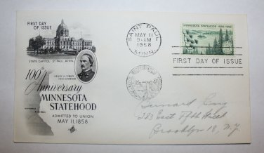 First Day of Issue - Minnesota Statehood 1958