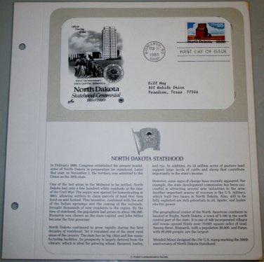 1989 First Day of Issue - North Dakota Statehood