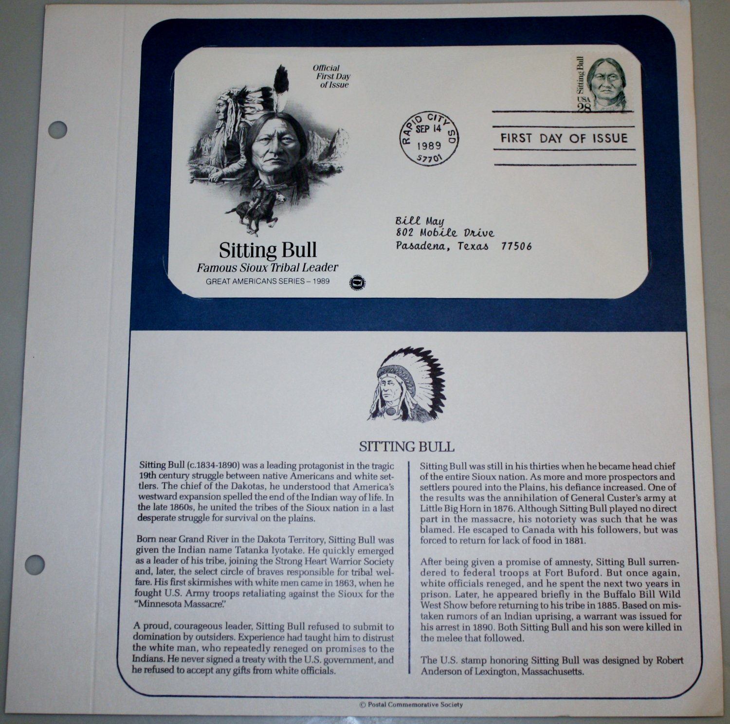 1989 First Day of Issue - Sitting Bull