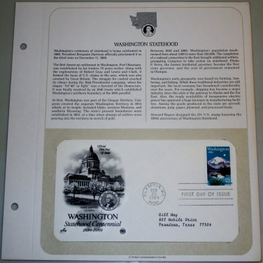1989 First Day of Issue - Washington Statehood Convention
