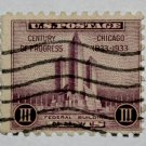 2-U.S. Cat. # 729 - 1933 3c Federal Building at Chicago