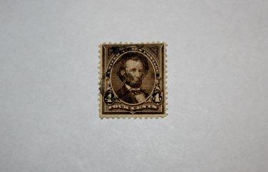 2-U.S. Cat. # 222 - 1890 4c Lincoln, dark brown