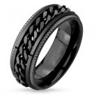 Stainless Steel Black IP Grooved Edge Band Ring