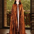 Hooded Cloak Camel Brown Velvet Medieval Renaissance Midnight Fantasy Pagan Wiccan Ceremonial Attire