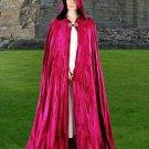 Hooded Cloak Fuchsia Red Velvet Medieval Renaissance Midnight Fantasy Pagan Wiccan Ceremonial Attire