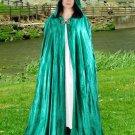 Hooded Cloak Jade Green Velvet Medieval Renaissance Midnight Fantasy Pagan Wiccan Ceremonial Attire