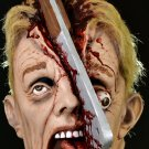 Cleave Meat Cleaver Bloody Gory Split Open Head Cleaved Scary Ugly Mortal Wound Halloween Mask