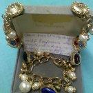 Vintage Kaufmann's Etruscan revival style fob charm bracelet and clip earring set
