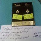 Trifari 14k gold vintage pierced earrings on original card N.O.S.