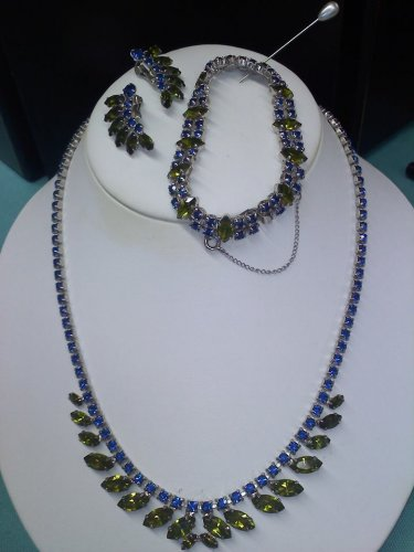 B David vintage rhinestone set in blue and green prong set in silver - Rhodium