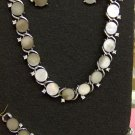 Lisner gray mother-of-pearl and rhinestones vintage jewelry set