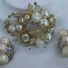 Faux pearls with large aurora borealis rhinestone and crystals plus clear rhinestones