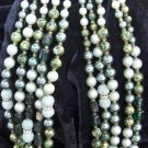 Japan 5 strand vintage necklace in greens and gold