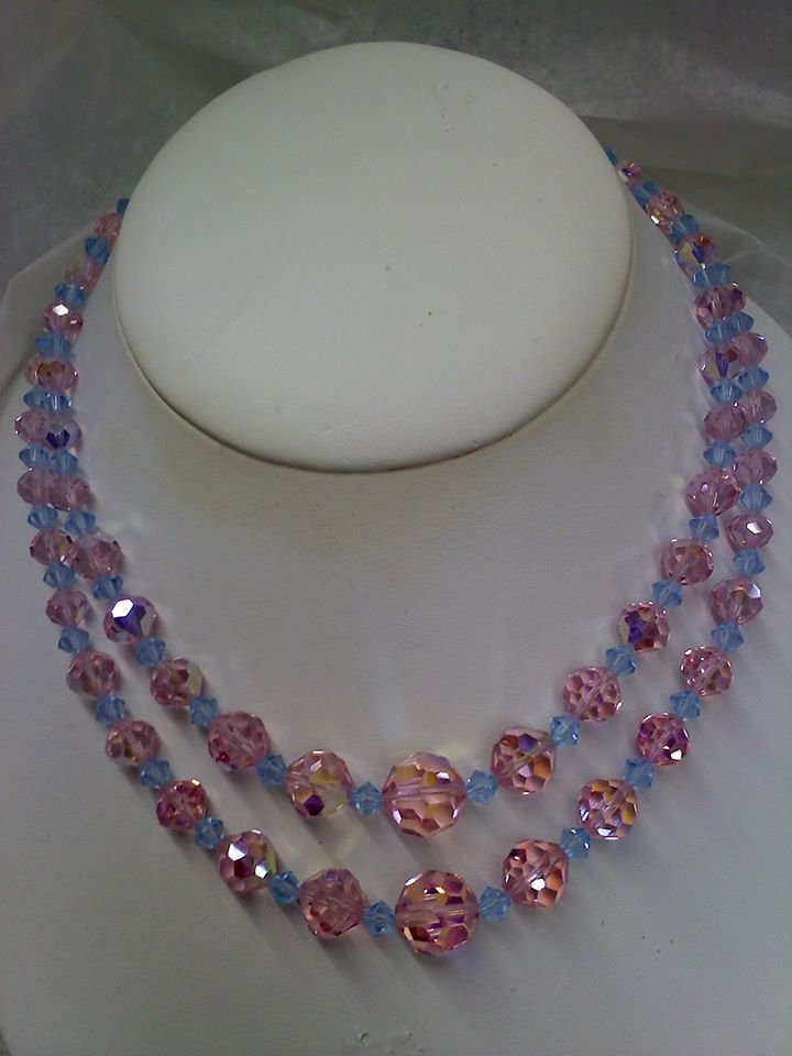 Pink and Blue Crystal Necklace vintage aurora borealis