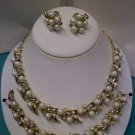Sarah Coventry faux pearl and rhinestone set - vintage necklace bracelet clip earrings
