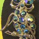vintage owl pin in aqua blue Aurora Borealis rhinestones