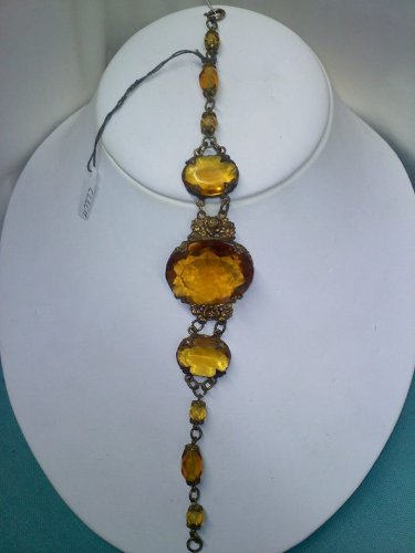 Antique early 1900's marked made in Czech -amber colored glass stones and beads on brass