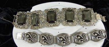 pewter silver and black vintage link bracelet