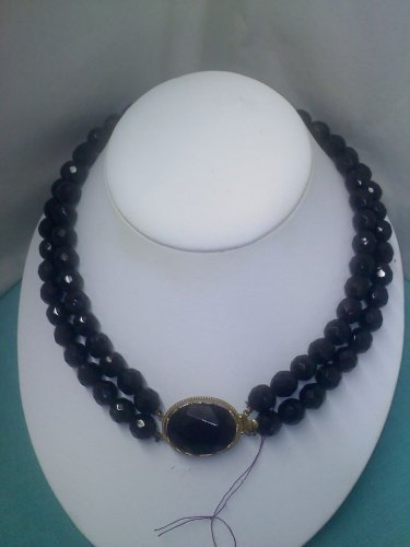 Vintage faceted black glass necklace with beautiful decorative clasp