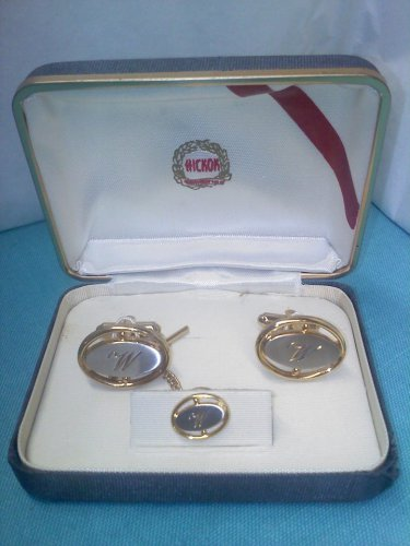 Hickok boxed vintage cuff links and tie tac set in silver and gold with a W monogram