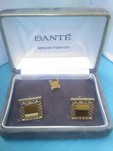 Dante boxed Dante vintage cuff link and tie pin set in genuine tiger eye stone