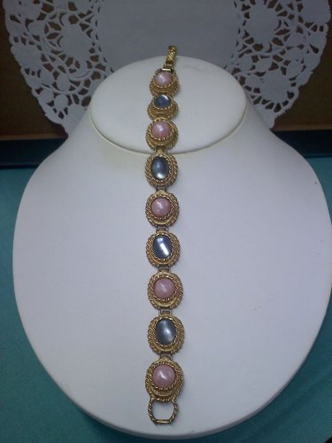 Sarah Coventry Pastel Reflections faux pink marble and blue gray moonglow vintage bracelet goldtone