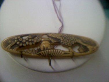Oriental themed Ivorene Celluloid bar pin vintage pin brooch
