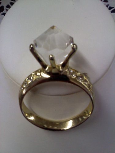 Huge faux diamond solitaire engagement ring with side rhinestones vintage brooch pin