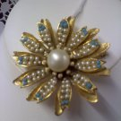 Vintage signed B.S.K. faux pearl and faux turquoise brooch pin