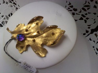 Capri textured gold oak leaf with Aurora Borealis vintage brooch pin