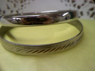 Two Monet vintage bangle bracelets - diamond cut textured and smooth Wedding Band - medium