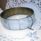 Vintage inlaid Mother of Pearl -MOP- panels on brass bangle bracelet