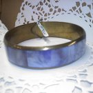 Vintage inlaid Mother of Pearl -MOP- purple panels on brass bangle bracelet