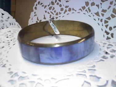 Vintage inlaid Mother of Pearl -MOP- purple panels on brass bangle bracelet
