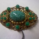 Vintage signed West Germany green glass, faux jade and brass brooch pin