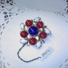 Vintage ruby red, white and cobalt blue brooch pin