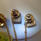 One Vintage 14k GE clear rhinestone tie tac with chain and bar