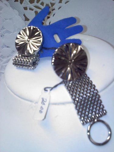 sun rays and mesh vintage silvertone foldover cufflinks
